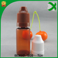 wholesale small 10ml amber plastic bottle with childproof cap , 10ml pet e liquid bottle brown for e juice / vape / smork oil