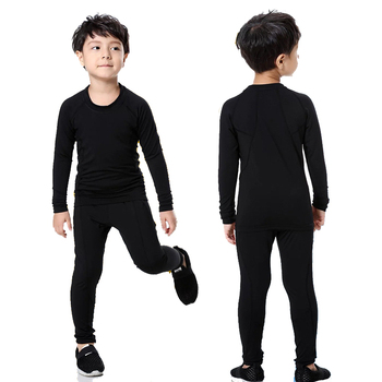 Kids Boys & Girls Long Sleeve Sports Training Compression Shirts+Pants 2 Pcs Set