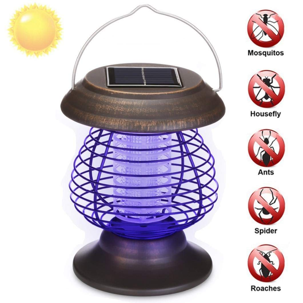 Inverlee Solar Powered Portable Electronic Mosquito Killer Light Indoor Bug Fly Zapper Insect Catcher Killer Trap Mosquito Killing Lamp (Brown)