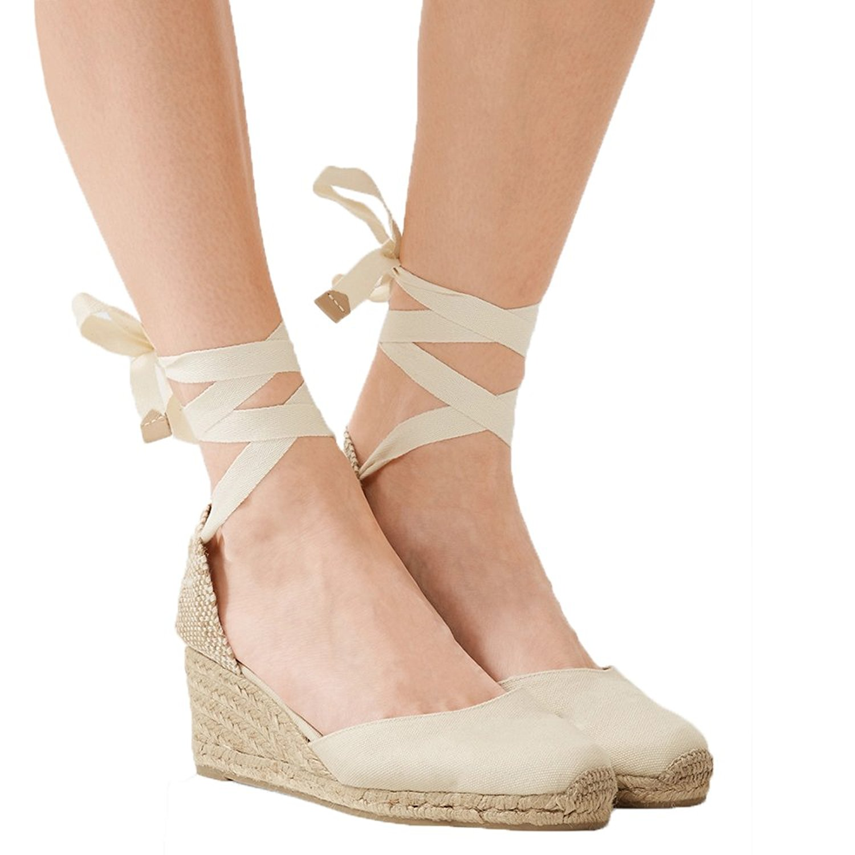 2f1d506808d Get Quotations · Dellytop Womens Espadrille Wedges Lace up Closed Toe  Platform Sandals Cute Slingback Summer Shoes