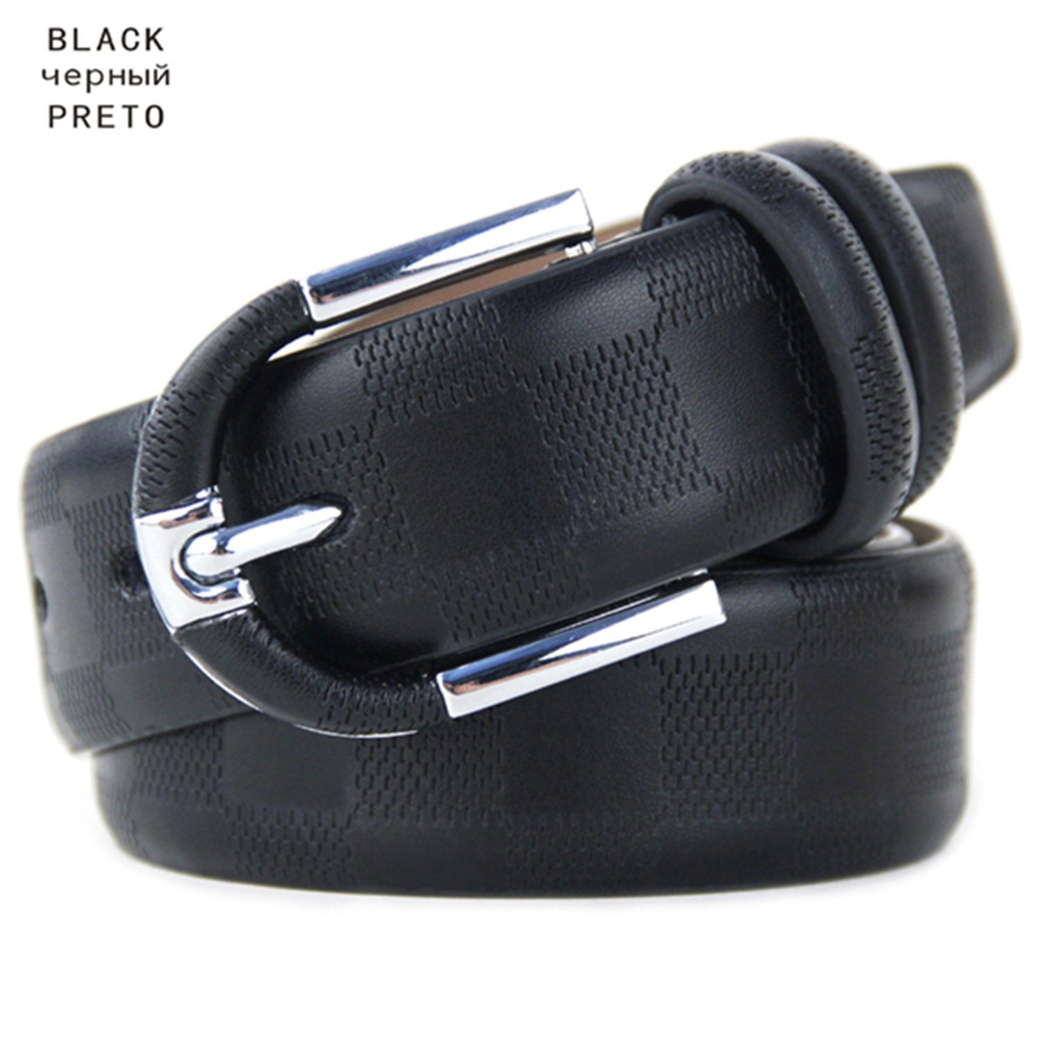 Get Quotations · Saneoo Fashionable Mens Belts Pin Buckle Branded Belts For  Men Genuine Leather Black Brown 3.5cm 164f0ca27a