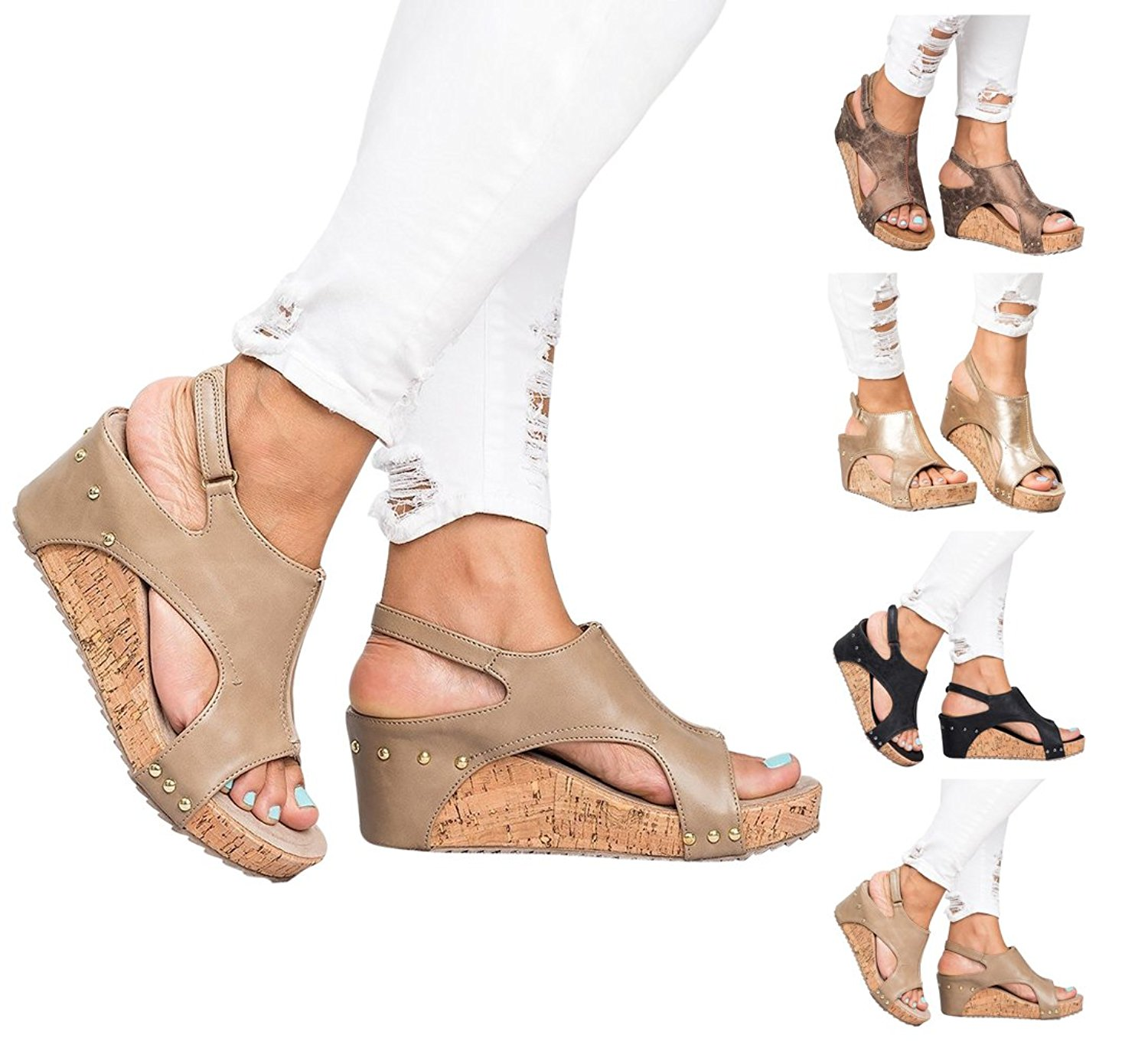 97b6cca3596 Get Quotations · Royou Yiuoer Womens Sandals Espadrille Platform Wedge Sandals  Summer Strappy Gladiator Hook-Loop Casual Summer