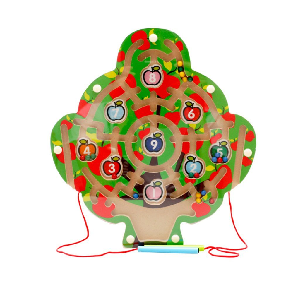 Redcolourful Children Magnetic Labyrinth Toys Interesting Magnetic Maze Toys for Boys and Girls 11.02 11.02 0.59 inch (Apple Tree)