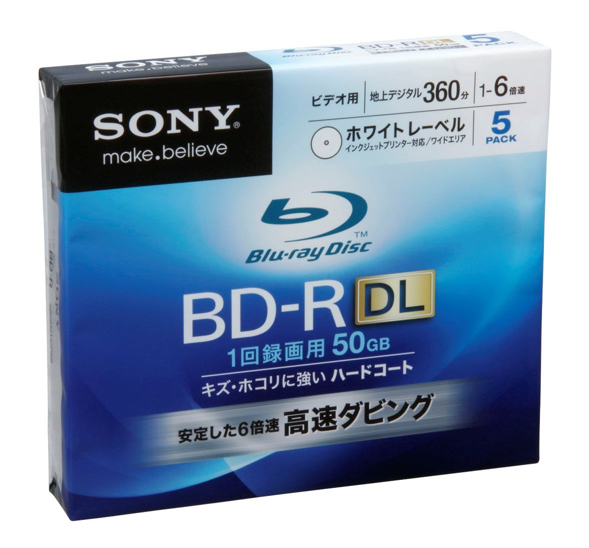 Sony Blu-ray Disc 5 Pack - 50GB 6x Speed BD-R DL Version 1.3