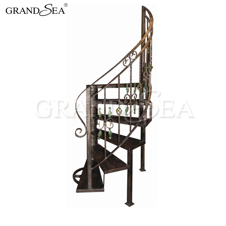 New Design Black Color Metal Curved Stair Railing Kits