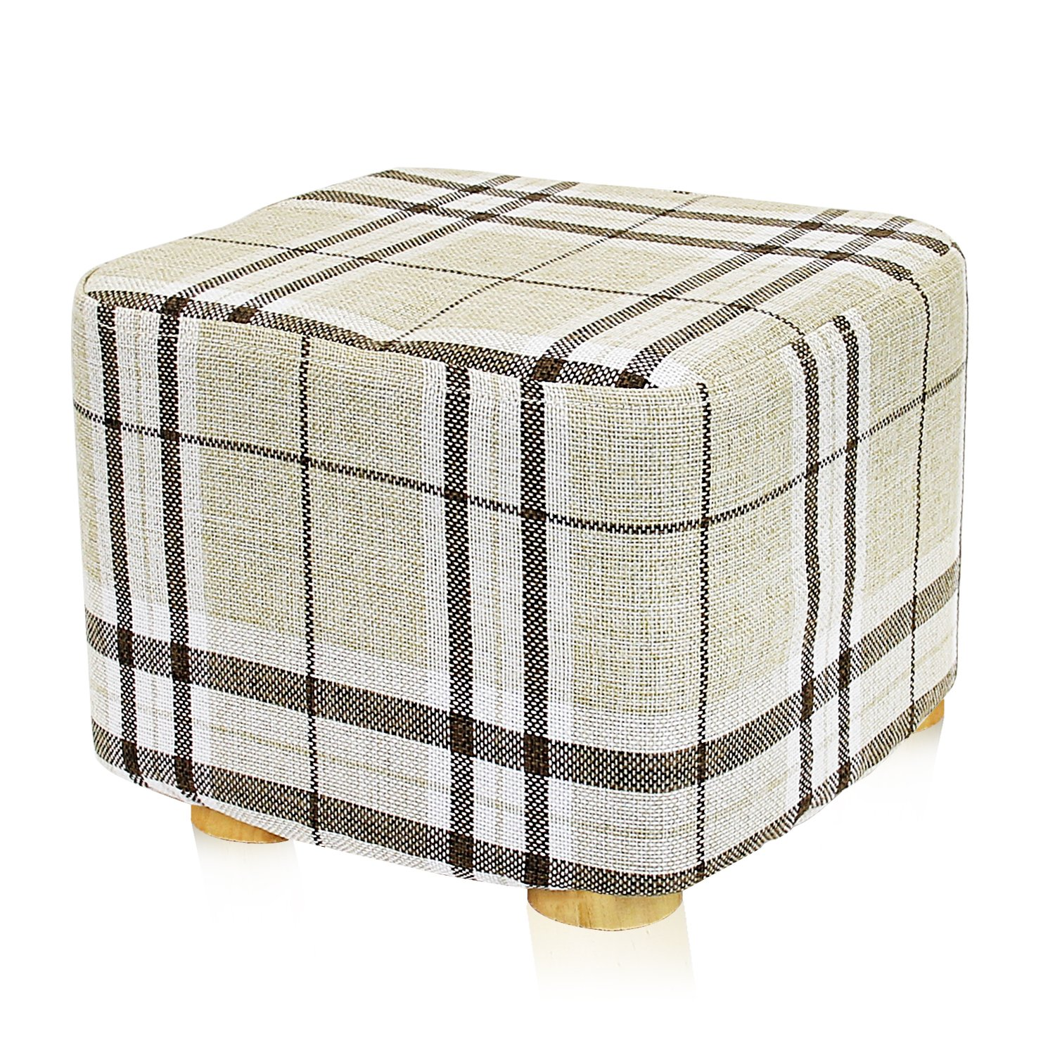 DL furniture - Square Ottoman Foot Stool, 4 Leg Stands, Short Leg, Square Shape | Linen Fabric, Striped Cover