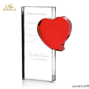 New Design Red Heart Crystal Trophy Awards