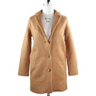 Wholesale Winter Button Wool Polyester Coat Women Overcoat