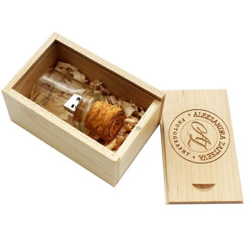 LOGO customer Glass drift bottle Cork <strong>USB</strong> + wooden box <strong>USB</strong> Flash Drive pendrive 4GB 8GB 16GB 32GB 64GB wedding gift