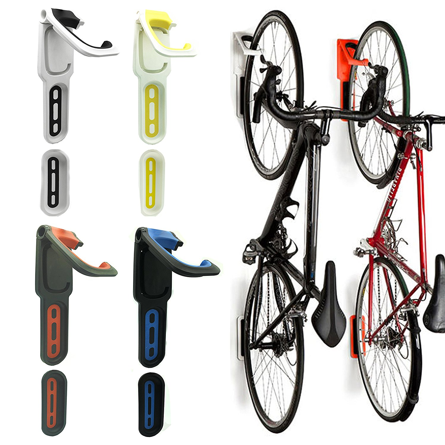 6056afc6d3a Get Quotations · Reliancer 3 Color Foldable Vertical Bike Rack Wall Mounted  Bicycle Cycle Storage Rack Single Bike Hook