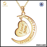 "Real 14k Gold Jewelry Wholesale ""I Love You to the Moon and Back"" Pendant Necklace Moon And Heart Pure Gold Jewelry"