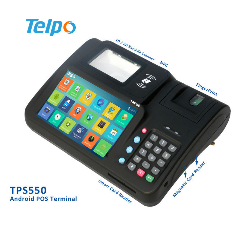 # Telpo TPS550 nfc pos terminal with camera, 1D/2D Barcode Scanner, Finger Print Scanner, gprs, Ethernet, NFC, magnetic and