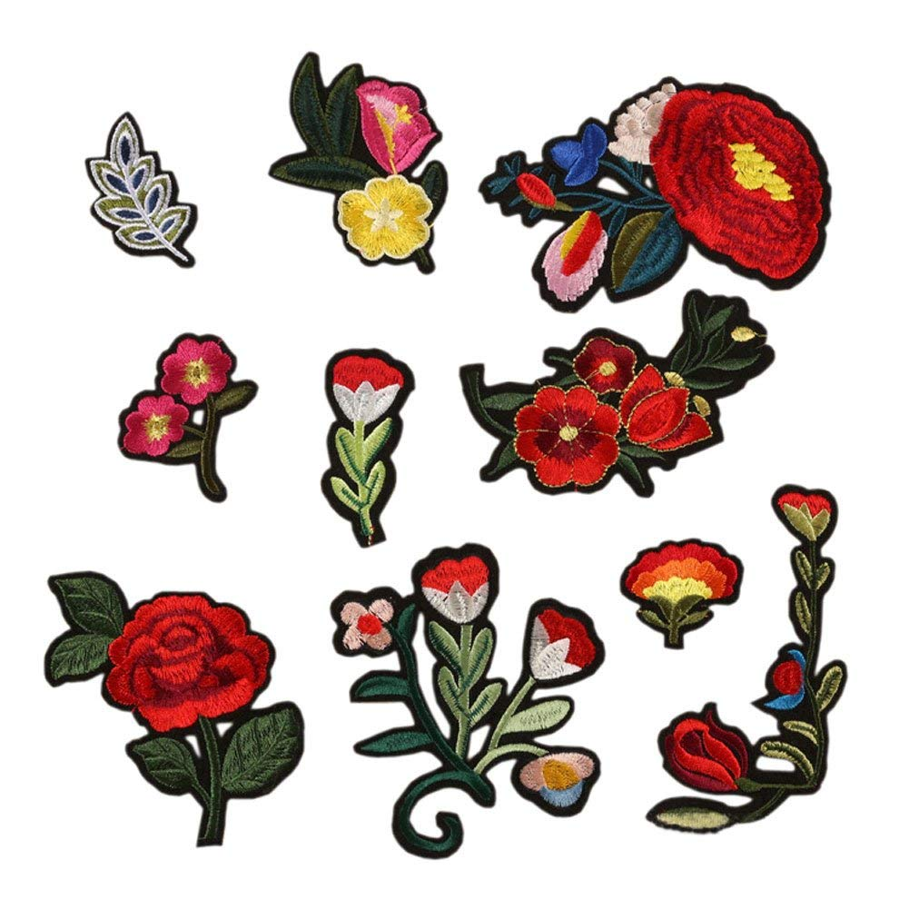 Hwafan Mix 10PCS Flower Floral Leaves Decal Fabric Iron On Patches Embroidered Motif Badge DIY Decoration Applique For Jeans Clothes