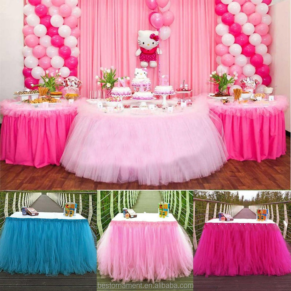 100*80 Cm Wedding Party Tulle Tutu Table Skirt For Birthday Baby ...