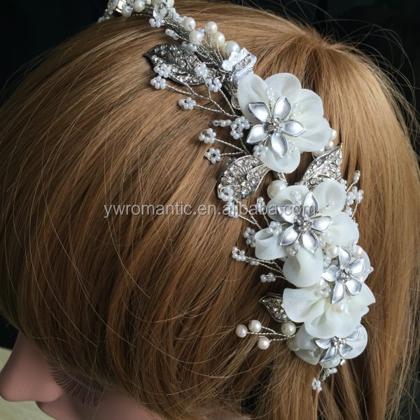 Handmade Silver Color Rhinestone Pearl Veil Side Flowr Headband <strong>Crown</strong> Wedding Accessories