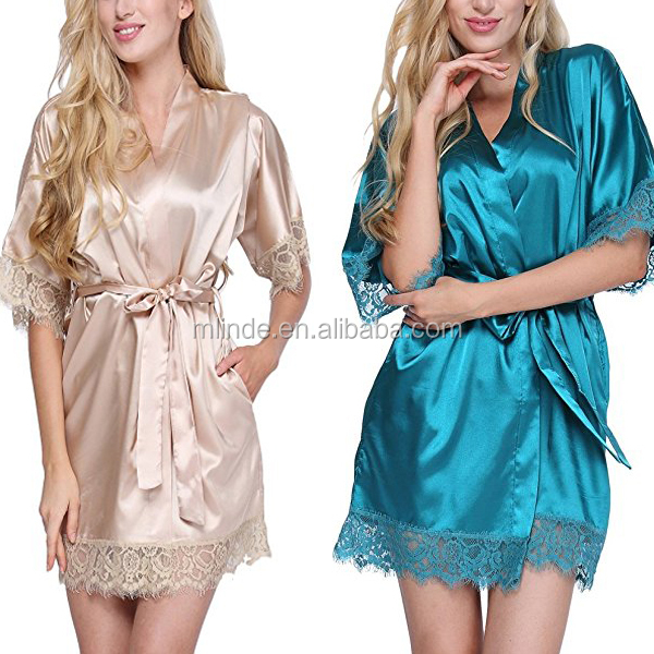 Women Satin Robe Wholesale Bulk Custom Short Kimomo Lounge Silk Night Wear Sexy Bridesmaids Robe With Lace Trim Manufacturer