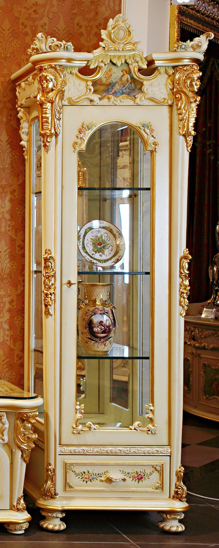 French Rococo Style Goldleaf Single Door Display Cabinet