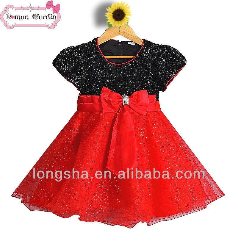 Robe fille noir et rouge
