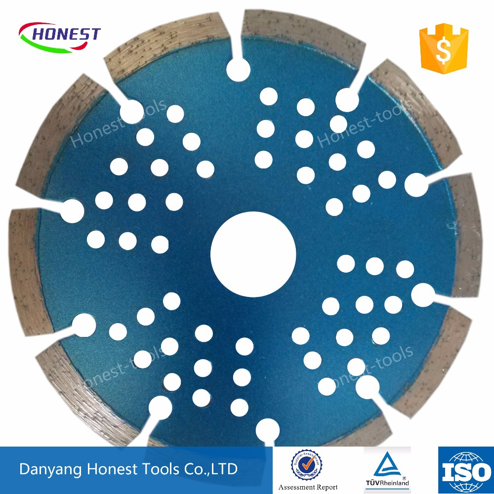 China honest diamond saw blade hot press sintered 300mm key-type segment with the matrix with hole dry cut for stone