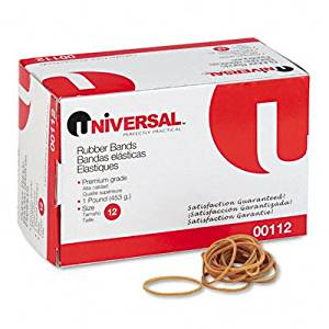 UNIVERSAL Rubber Bands, Size 12, 1/8 x 1-3/4, 2580 per 1lb Box (Case of 20)