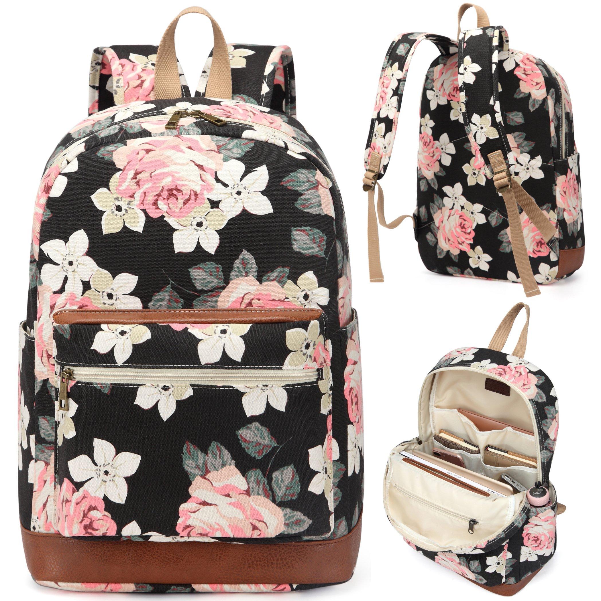 9a6185d0e2cd Get Quotations · Kenox Girl s School Rucksack College Bookbag Lady Travel  Backpack 14Inch Laptop Bag (Floral)