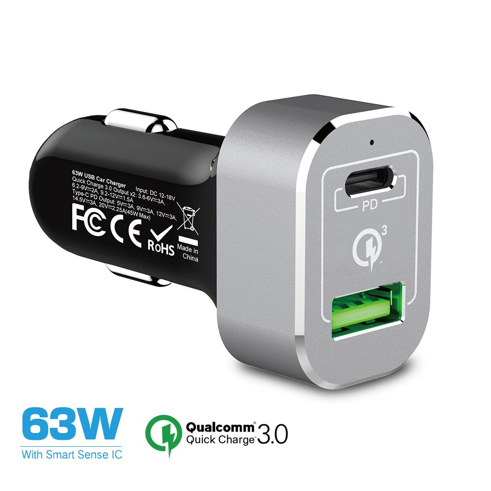 63W Car charger with PD power delivery for Macbook