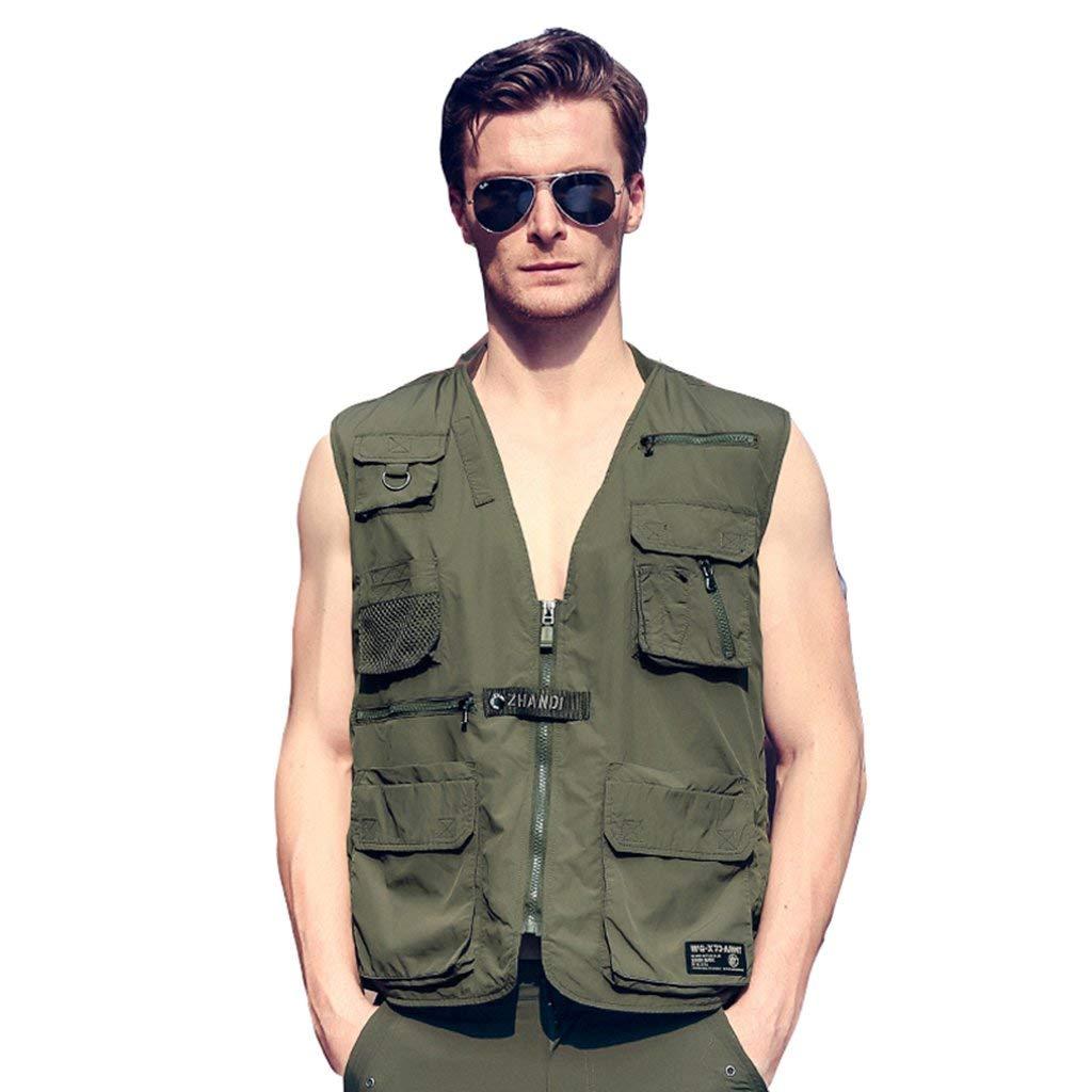 Pocket vest Men's vest Outdoor sports vest Photography vest Fishing vest Multifunctional vest Casual vest Breathable comfort (Size : L)