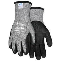 Memphis Glove Large Black And Gray Ninja Therma Force 7 Gauge Acrylic Terry Lined Cold Weather Gloves With Knit Wrist, Salt/Pepper 13 Gauge Dyneema And Synthetic Fibers Shell And - 1 PR