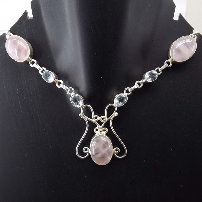 Blue Topaz, Rose Quartz Necklace plated 925 Sterling Silver 26 Gms 18-20 Inches