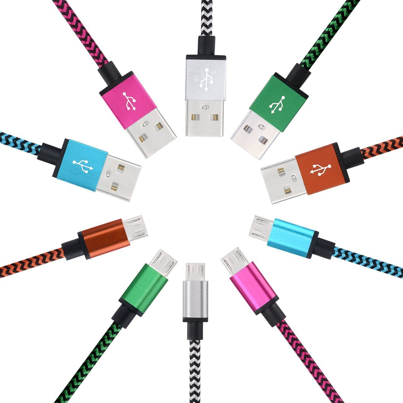 MI-PRO 1 YEAR WARRANTY! 6 PECS! METAL TIP Micro USB Cable [3FT] Nylon Braided USB 2.0 A Data Sync Charging Cable for Android ,Samsung, HTC ,Sony(RANDOM COLOR)