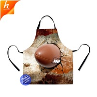 New Design 2018 Art Apron for Adults Painting Football Soccer Printing Apron for men Kitchen