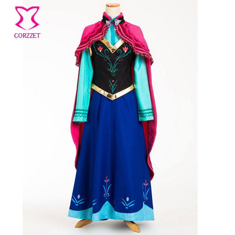 Ice Snow Fantasy Princess Anna Costume Cosplay Disfraces Adultos Sexy Halloween Costumes For Women Lolita Masquerade Dress