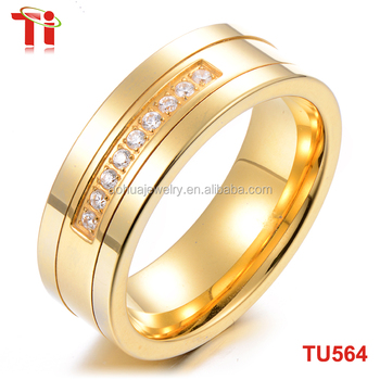 8mm stone inlaid gold ring design for men tungsten carbide saudi