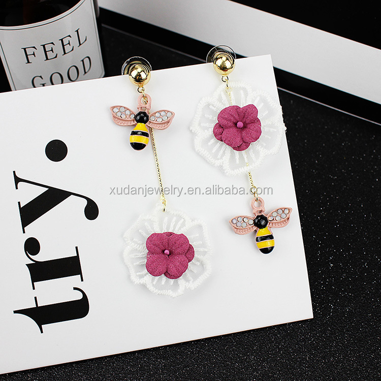 Pink White Lace Flower Tassel Long Earrings Cute Bee Charms For Women Earrings