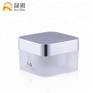 Fancy acrylic square white cosmetic plastic jar for face cream 5g 30g 50g