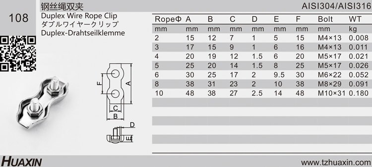 High Quality Grade 304/316 Stainless Steel Duplex Wire Rope Clips 2mm-10mm Manufacturer