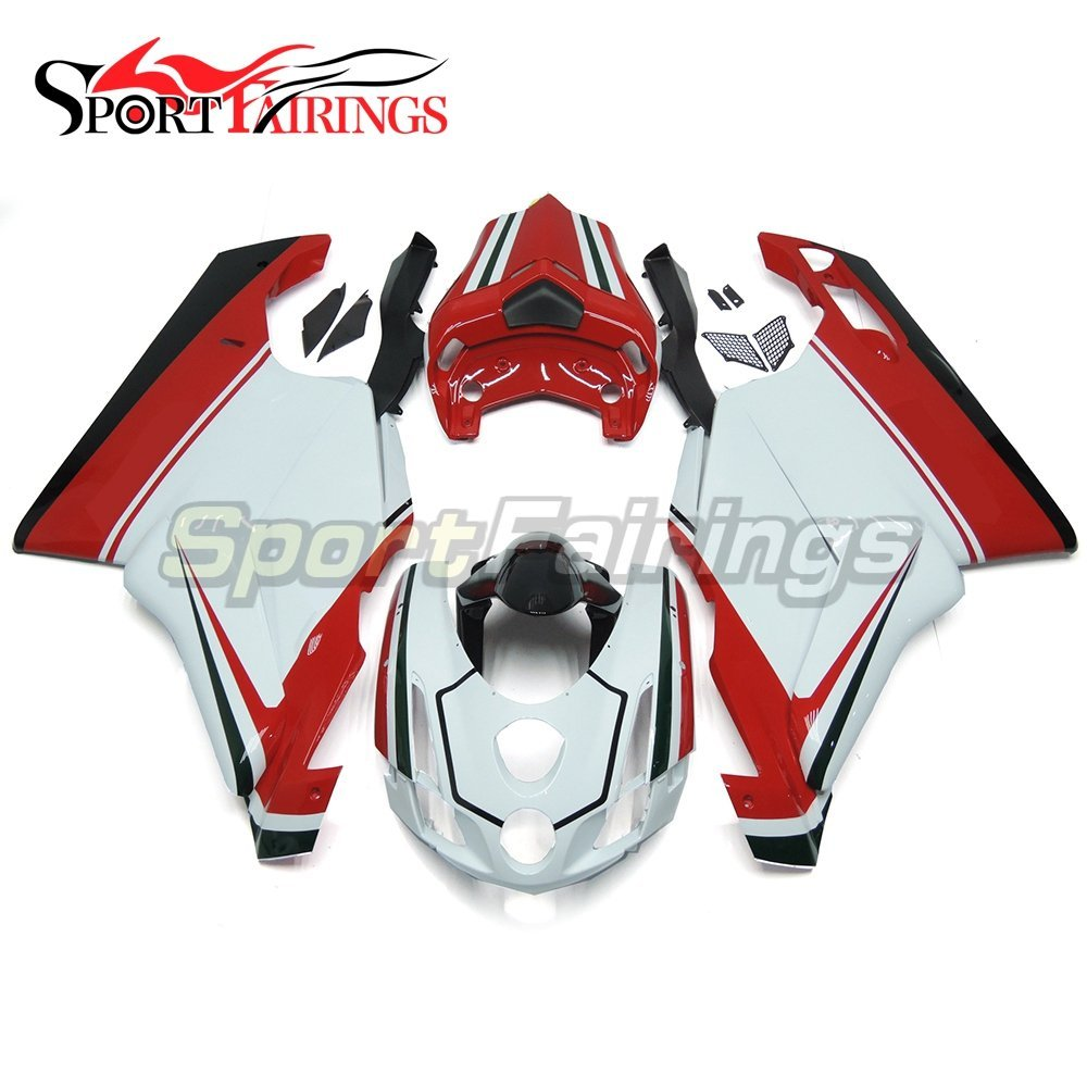 Sportfairings Complete Injection ABS Plastic Fairing Kits For DUCAT 999 749 Monoposto 2003 2004 White Red Bodyworks Sportbike Cowls