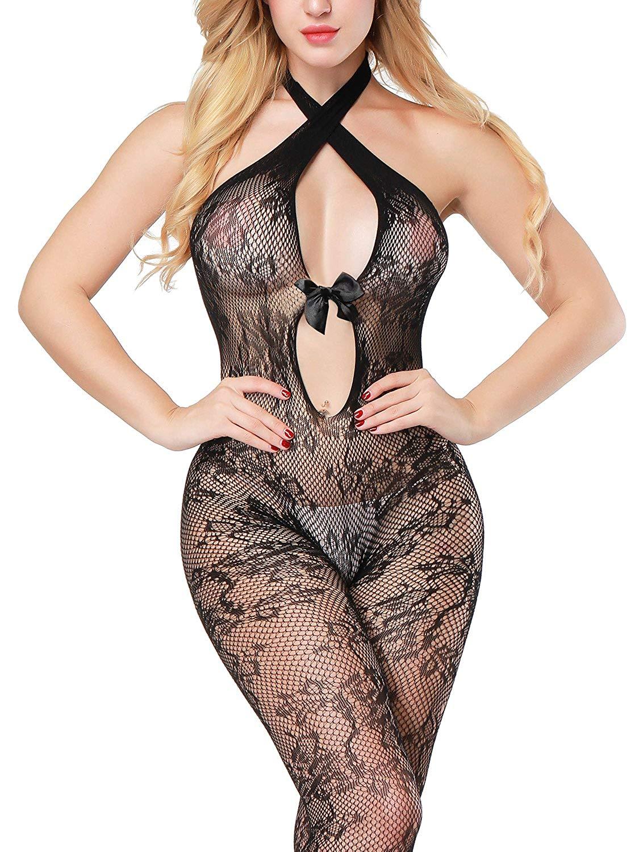 B-Sin Sexy Womens Babydoll Lingerie Bodystocking Crotchless Nightwear Fishnet Stocking