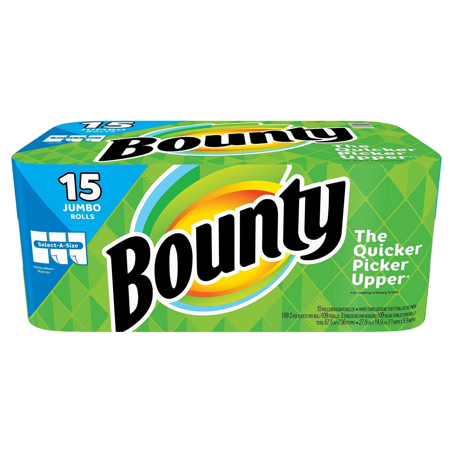 Bounty Select-a-Size Paper Towels, White, Huge Roll, 8 Count (2 pack(15 Jumbo Rolls))