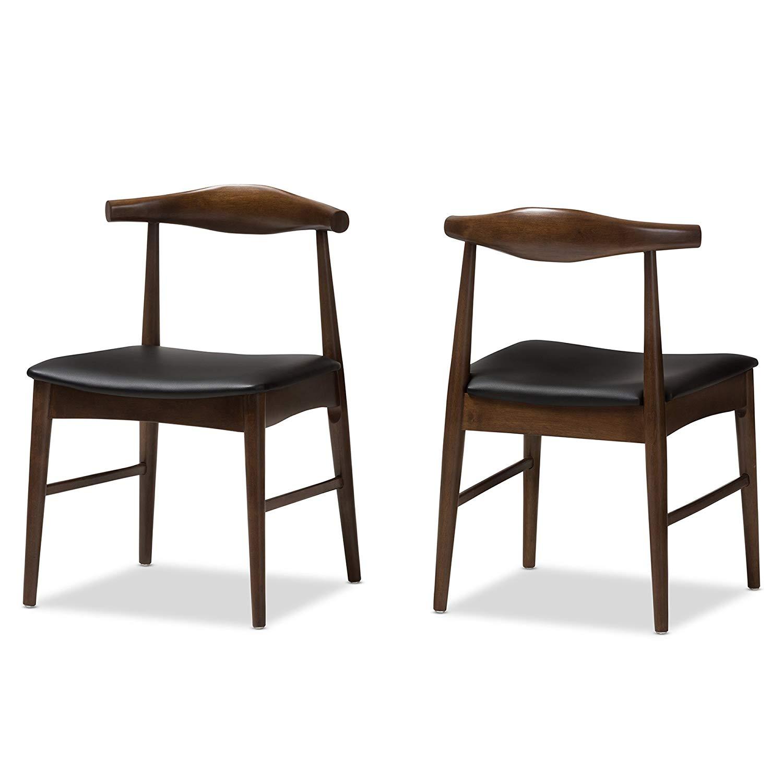 Baxton Studio Winton Mid-Century Modern Walnut Wood Dining Chair Set Qty 2/Mid-Century/Black/Medium Wood/Faux Leather/Rubber Wood/Foam