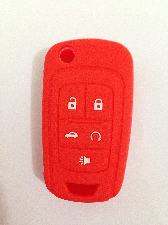 Red Silicone Cover Holder Key Jacket for Chevrolet Camaro Cruze Volt Equinox Spark Malibu Sonic Flip Remote Key Case Shell 5 BTN BK