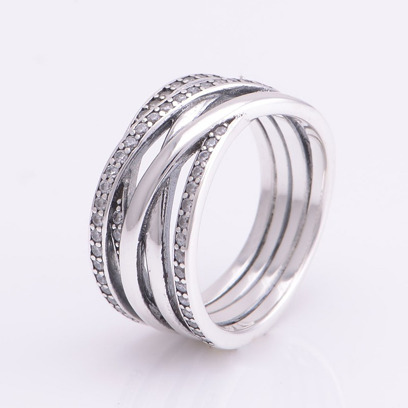 Authentic 925 Sterling Silver classic lines intertwined rings with Cz Europe compatible charm for Women Jewelry