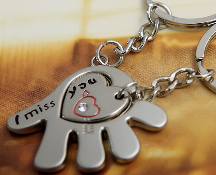 Stainless Steel Hand and Heart Cute Couple Keychain Love Keychain Key