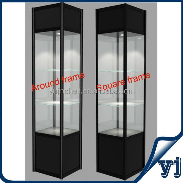 Aluminium Vierkante Glazen Display Cse/vitrinekast Met Verlichting ...