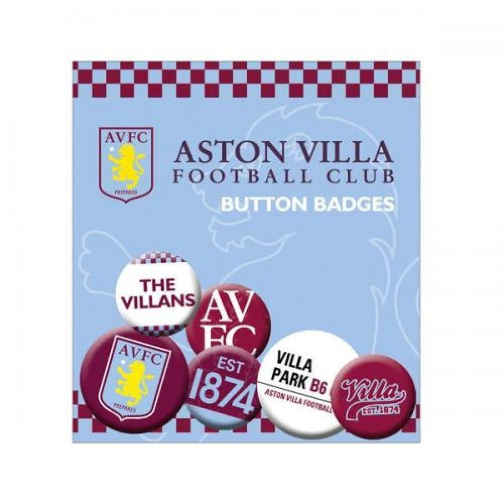 Football Gifts - Aston Villa Fc Gift Ideas - Official Aston Villa Fc Button Badge Set - A Great Present For Football Fans