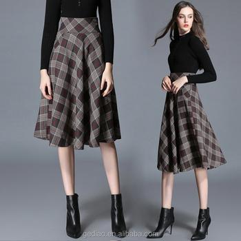 71f819616 overknee spring and summer design european fashion retro plaid umbrella  long skirt