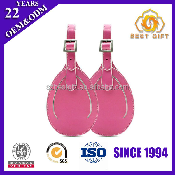 Guangdong Manufacturer Pink Real leather luggage tag Leather
