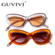 GUVIVI Oval Candy color Sunglasses personalized Promotion Cat eye Fashionable sunglasses women