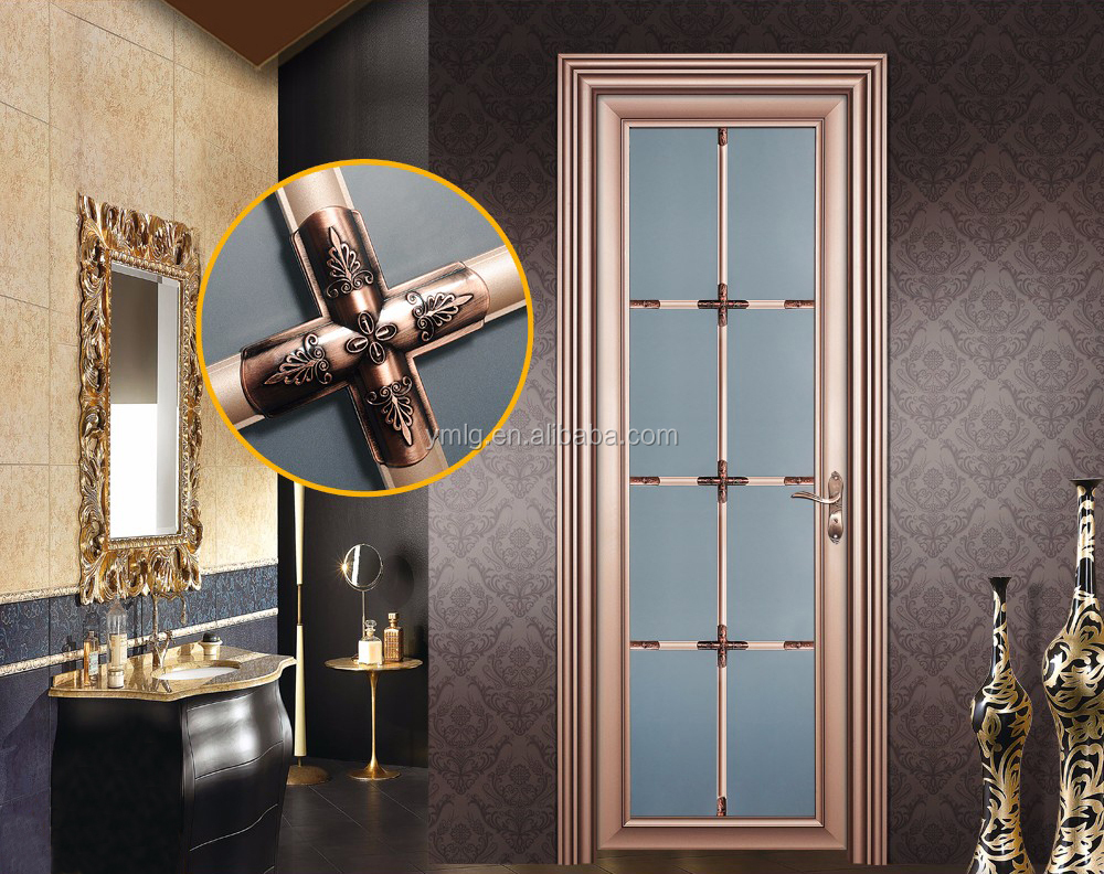 Luxury Design Cheap Residential Aluminum Frame Glass Bathroom <strong>Door</strong>