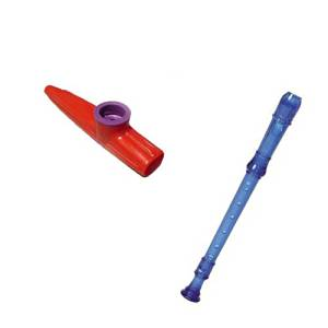 My First Recorder / Kazoo Pack -BPA FREE Blue Translucent Recorder w/Red Kazoo